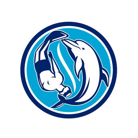 Retro-stijl illustratie van een vrije duiker en dolfijn duiken zwemmen in Yin Yang vorming ingesteld binnen cirkel op geïsoleerde achtergrond. Stock Illustratie