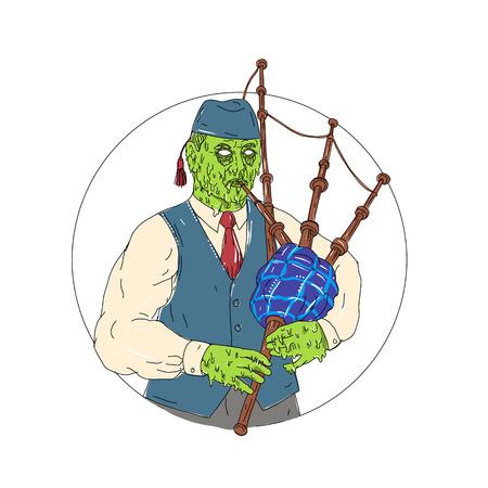 Schmutzkunst-Artillustration eines Zombie-Pfeifers, der die Dudelsäcke spielt, die vom vorderen Satz innerhalb des Kreises auf lokalisiertem Hintergrund angesehen wurden. Standard-Bild - 87430104