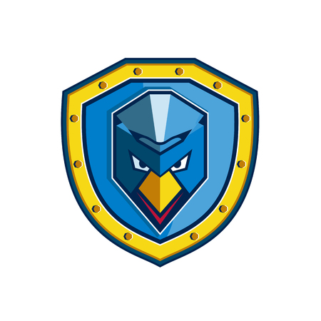 Icon style illustration of a Blue Chicken with Mohawk set inside crest Shield on isolated background.