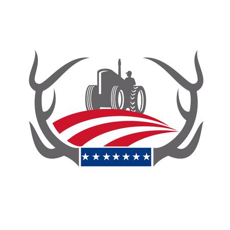 Retro-stijl illustratie van een whitetail herten Gewei framing een boerderij trekker met Amerikaanse sterren en strepen Vlag op geïsoleerde achtergrond.