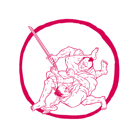 스케치 스타일 그리기 katana 칼 Jui Jitsu와 사무라이 전사의 그림 싸우거나 유도 유도 된 동그라미 안에 격리 된 배경. 일러스트