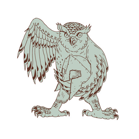 Drawing sketch style illustration of an angry Great Horned Owl Holding Spartan battle-worn Helmet viewed from front on isolated background. Illustration