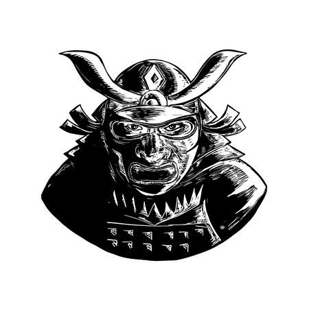 Retro woodcut style illustration of a Samurai Warrior Wearing facial armor mask called Mempo and top heavy kabuto helmet front view on isolated background.