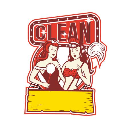 """Retro 1950's stijl illustratie van Twin vrouwelijke schoonmakers met veer duster en mop met woorden tekst """"Clean"""" op geïsoleerde achtergrond."""