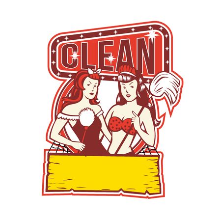 Retro 1950s style illustration of Twin female Cleaners with feather duster and mop with words text Clean on isolated background.
