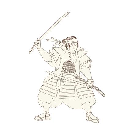 Woodblock-Zeichnungsskizzen-Artillustration der Samurai-Krieger Katana-Klinge Kampf-Haltung angesehen von der Seite auf lokalisiertem Hintergrund. Standard-Bild - 87430114