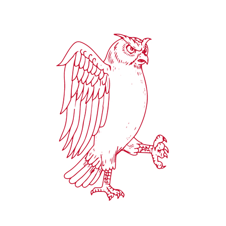 Drawing sketch style illustration of a Great Horned Owl Marching viewed from side on isolated background. 版權商用圖片 - 87848192