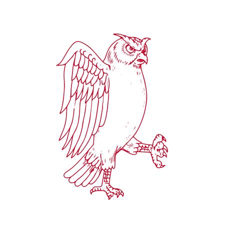 Zeichnungsskizzen-Artillustration eines großen gehörnten Owl Marching angesehen von der Seite auf lokalisiertem Hintergrund. Standard-Bild - 87848192