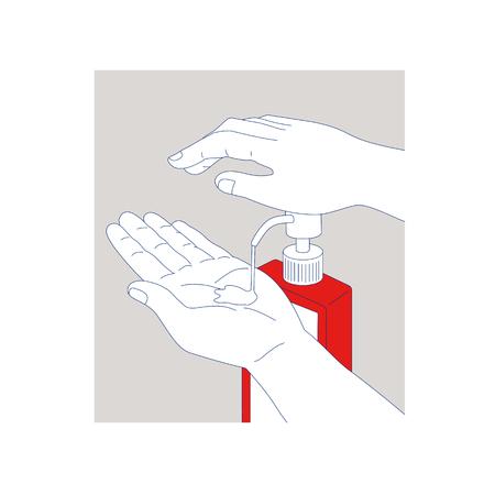 모노 라인 손 소독약을 펌핑하는 손의 그림 소독 용 소독제 비누 디스펜서 청소 및 소독.