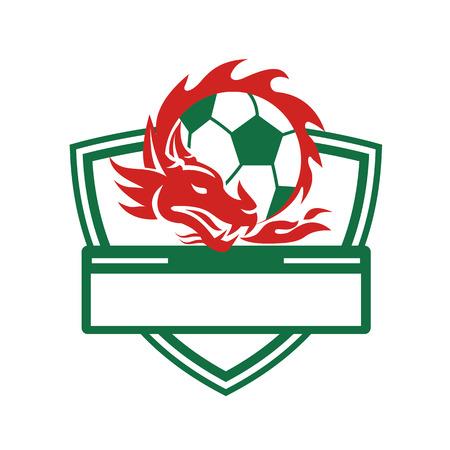 ドラゴン coling サッカー ボール周辺のレトロなスタイルの図は分離の背景に家紋シールド内に設定。