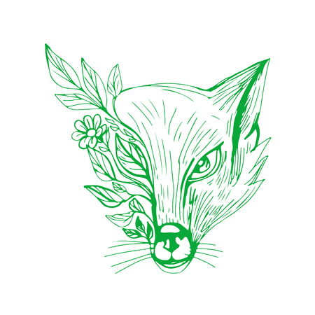 Drawing sketch style illustration of a Fox Head With Flower and Leaves viewed from front on isolated background.