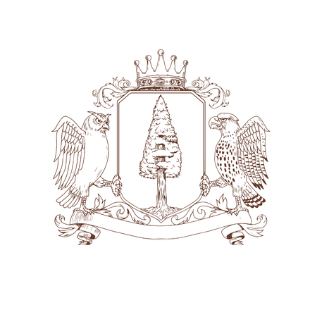 Drawing sketch style illustration of coat of arms showing an Owl and Hawk as supporters on side with Redwood tree and nest inisde crest and Crown on top and ribbon banner scroll below on isolated background. Ilustração