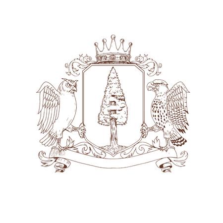 Tekening schets stijl illustratie van wapenschild met een uil en Hawk als supporters aan kant met Redwood boom en nest inisde kuif en kroon op de top en lintbanner scroll hieronder op geïsoleerde achtergrond. Stock Illustratie