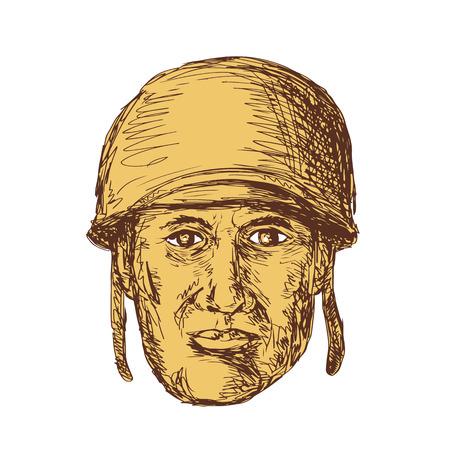 図面スケッチ イラスト WW2 の世界大戦 2 アメリカの兵士頭ヘルメットを身に着けている孤立した背景に正面から表示。