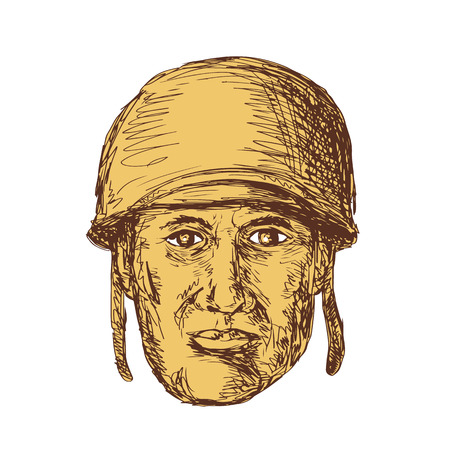 world war two: Drawing sketch style illustration of a WW2 or world war two American Soldier Head wearing a helmet viewed from front on isolated background.