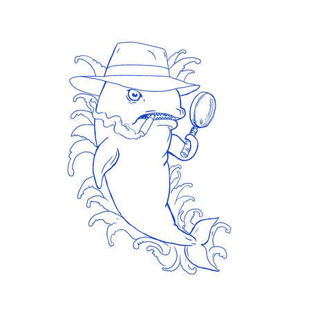 Caricature drawing cartoon style illustration of a Detective Orca Killer Whale holding a magnifying glass , wearing a fedora hat and smoking cigar with waves on isolated background.