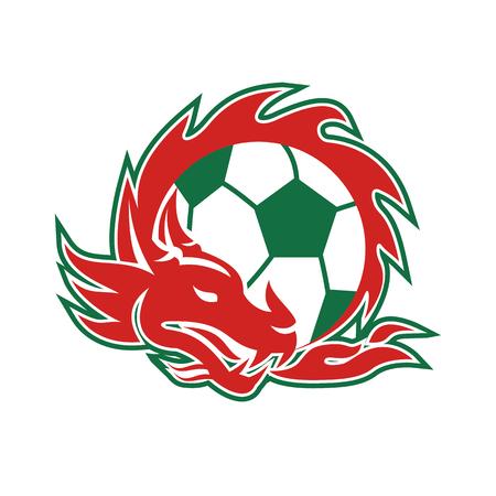 ウェールズのドラゴン coling 分離背景にサッカー ボールの周りのレトロなスタイルのイラスト。