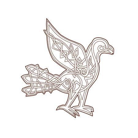 Keltische Knüpfarbeit oder pseudo-keltische lineare Knotenartillustration einer Taube, Taubenvogel angesehen von der Seite auf lokalisiertem Hintergrund. Standard-Bild - 87848361