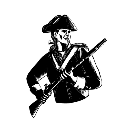 Scratchboard style illustration of an American Patriot holding musket rifle done on black and white scraperboard on isolated background. Illustration