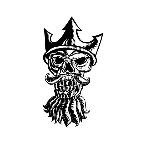 ったら孤立の背景に scraperboard、フロントから見たトライデント王冠を身に着けているネプチューンの頭蓋骨のイラスト。  イラスト・ベクター素材