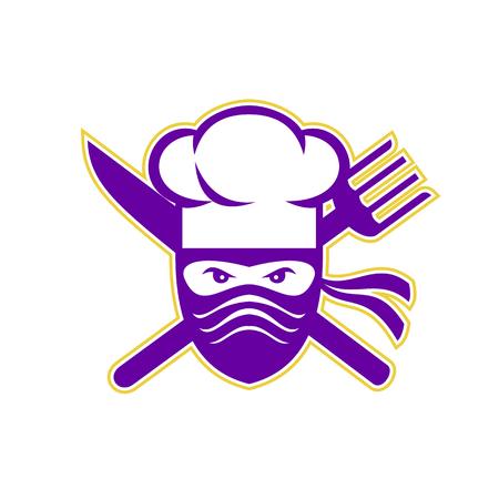 Ilustración del estilo del icono de un cocinero de Ninja, cocinero o panadero con el cuchillo cruzado y la bifurcación en fondo aislado. Foto de archivo - 87848364