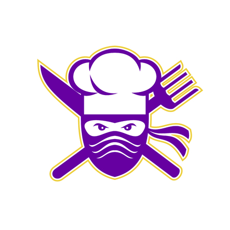 Icon style illustration of a Ninja Chef, cook or baker with Crossed Knife and Fork on isolated background.