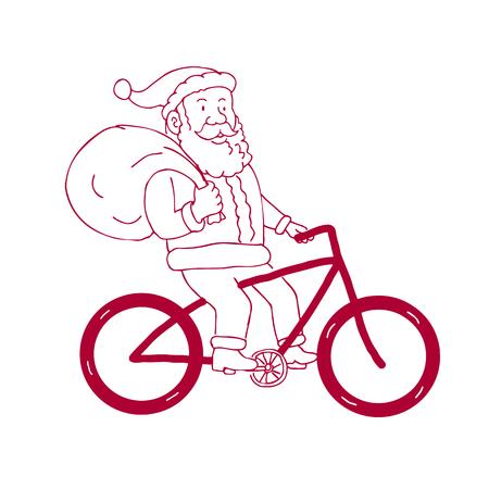 Cartoon tekening schets stijl illustratie van Santa Claus fietsen fiets bedrijfssak van cadeaus geschenken op schouder gezien vanaf de kant op geïsoleerde achtergrond.