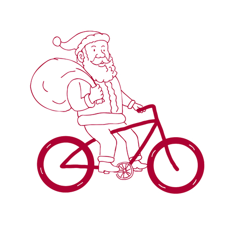 Cartoon drawing sketch style illustration of Santa Claus riding a bike bicycle holding bag of presents gifts on shoulder viewed from side on isolated background. Illustration