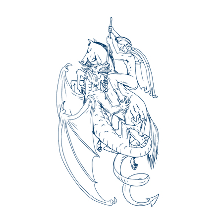Drawing sketch style illustration of St. George riding horse steed about to Slay Dragon with spear on isolated background. Фото со стока - 87848367