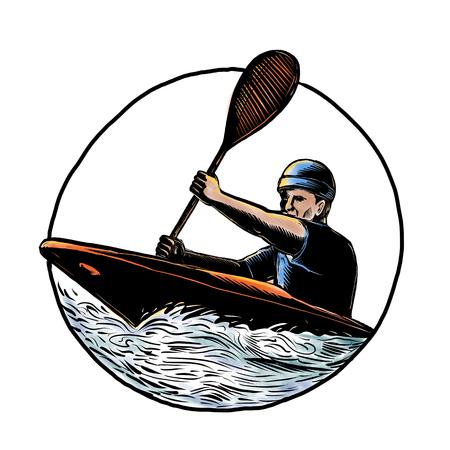 De illustratie van de Scratchboardstijl van kajakpeddelaar met peddel die een kano op stroomversnelling verpakken binnenkring op geïsoleerde achtergrond.