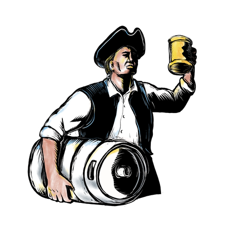 Scratchboard style illustration of an American Patriot Carrying  Beer Keg drum and holding up an ale mug on isolated background.