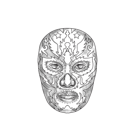 Tattoo style illustration of a Mexican wearing luchador Lucha libre mask viewed from front. Stock Illustration - 88169998