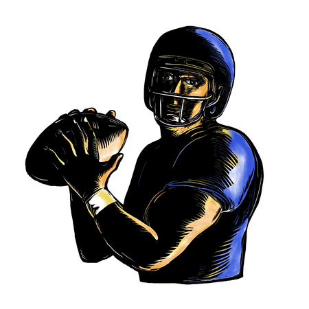 Scratchboard style illustration of an American football Quarterback about to Throw Ball  viewed from front on isolated background. Stock Photo