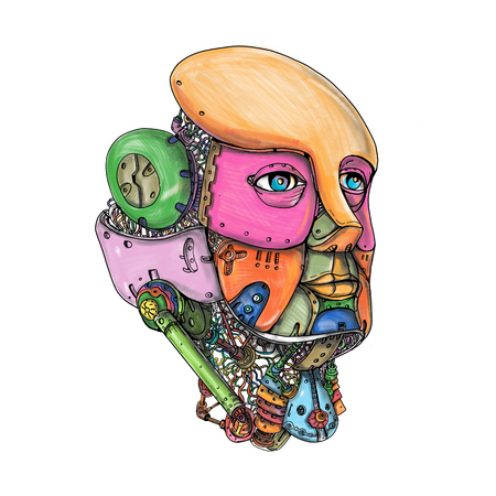 Tattoo style illustration of a female humanoid robot AI Artificial Intelligence head looking forward on isolated background. Stock Photo