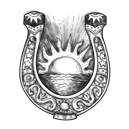 문신 스타일 일러스트 레이 션의 장식 된 말굽 태양과 바다 중간에 격리 된 배경에 빛나는 함께. 스톡 콘텐츠