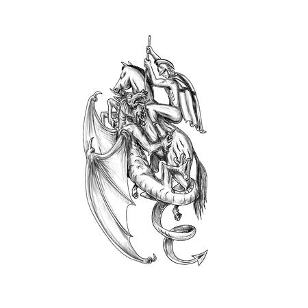 Illustrazione di stile del tatuaggio del cavallo da sella di San Giorgio che combatte drago mitico con la lancia su fondo isolato. Archivio Fotografico - 88170003