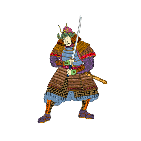 격리 된 배경에 자세를 싸움에 katana 칼와 카 부토 헬멧을 착용하는 일본 사무라이 전사의 빈티지 Woodblock 스타일 그림.