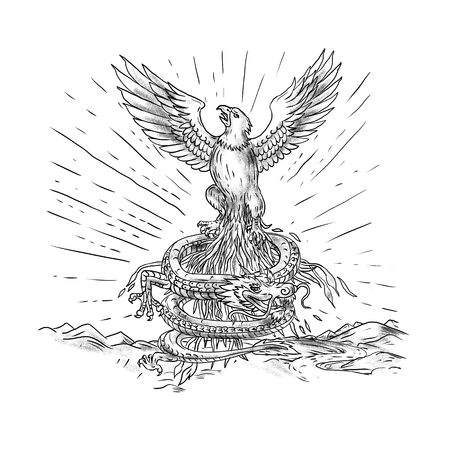 Tattoo style illustration of and eagle rising up like a phoenix with dragon coiling below with mountains in background.
