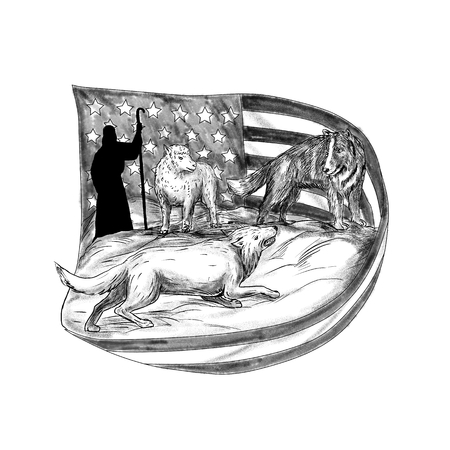 Tattoo style illustration of a sheepdog or herding dog protecting a lamb from a wolf with shepherd in background and USA stars and stripes American flag. Stock Photo