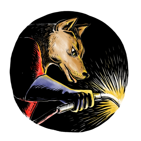 Woodcut style illustration of a wolf or wild dog welder welding viewed from side set inside oval shape on isolated background. Banco de Imagens