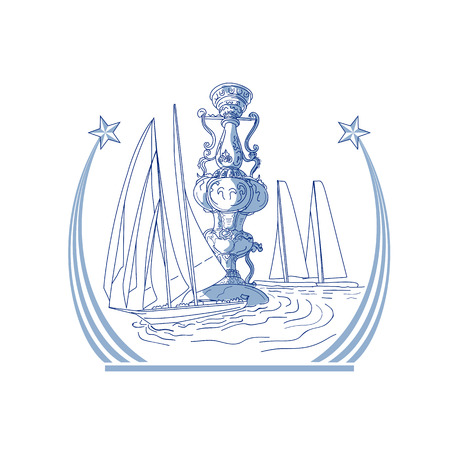 Drawing sketch style illustration of three Yacht Club match racing sailing in background and meteor comet star with tail on isolated background. Illustration