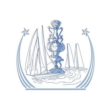 Tekening schets stijl illustratie van drie Yacht Club wedstrijd racen in achtergrond en meteoor komeet ster met staart op geïsoleerde achtergrond.