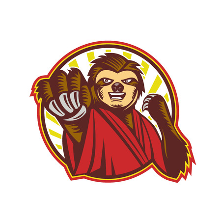 Icon style illustration of a mascot of a Sloth Fighter Self Defense punching fighting viewed from front set inside circle on isolated background.