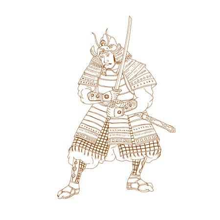 부시, buke 또는 사무라이 전사 격리 된 배경에 katana 칼으로 입장을 싸우는 스케치 스타일 그림 그리기.