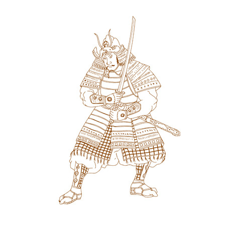 Drawing sketch style illustration of a Bushi, buke or Samurai Warrior in fighting stance with katana sword on isolated background. Illustration