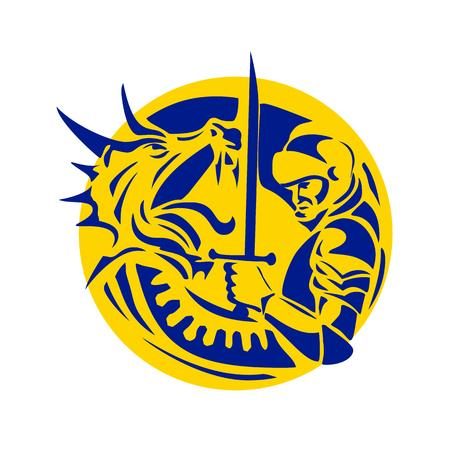 騎士の聖ジョージの剣でレトロなスタイルの図戦ってドラゴンは孤立した背景にサークル内に設定。
