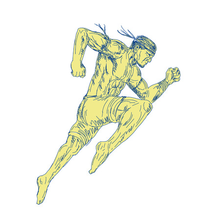 Drawing sketch style illustration of a Muay Thai Fighter Kicking jumping viewed from side on isolated background.