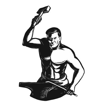 Scraperboard 격리 된 배경에 다 프런트에서 볼 앤빌에 작업 망치로 대장장이의 Scratchboard 스타일 그림.