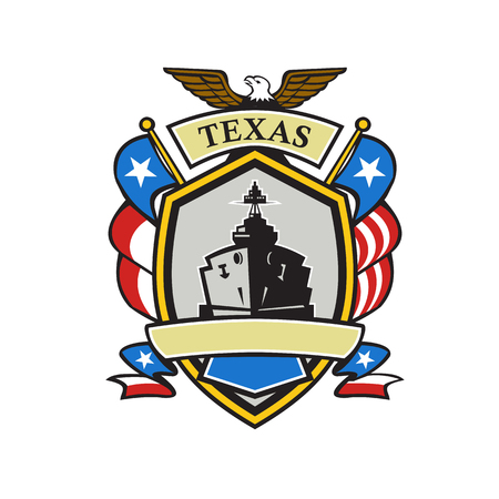Retro style illustration of an emblem or coat of arms showing a Battleship and American eagle with Texas Lone Star flag and USA stars and stripes spangled banner set iside crest shield.
