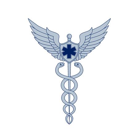 Caduceus 또는 Asclepius의 막대기의 아이콘 스타일 일러스트 날개가있는 직원 및 파일럿 날개 및 격리 된 배경에 EMT 별 주위 와인딩 두 뱀이 함께 일러스트